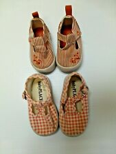 2 Pair Shoes Childrens Place Girls Size 02 Red Striped & Pink Checkered