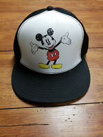 Disney Classic Mickey Mouse SnapBack Hat Black White Distressed Style Genuine