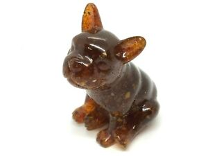 BALTIC AMBER Dog French Bulldog Gift Statuette Figurine Collectible 68,8g 15970