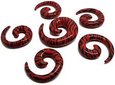 Spiral Ear Plug Stretcher Taper Plug Zebra Style Safari Acrylic