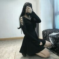 Lady Gothic Dress Lace Up Harajuku Vintage Punk A Line Japanese Long Sleeve Sexy