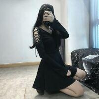 Lady Gothic Dress Lace Up Harajuku Retro Punk A Line Japanese Long Sleeve Sexy