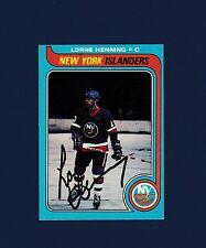 Lorne Henning signed New York Islanders 1979 Topps hockey card