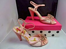 BETSEYVILLE BETSEY JOHNSON SZ 8 M pink silver zipper  OPEN TOE PUMPS HEELS V1247