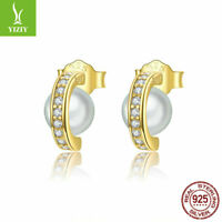 925 Earrings With Pearl Sterling Silver Ear Stud With Gold Plated Women Luxury