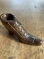 Vintage Sewer Tile Folk Art Stoneware Pottery Whimsical Shoe Signed 1944 Bernice