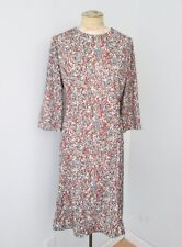 Vgc Vtg 60s 70s Blue Rust Brown Abstract Floral Poly Knit Sheath Dress L/Xl