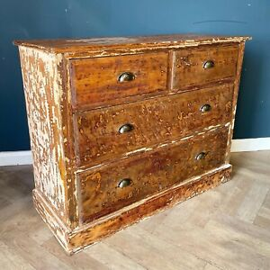 Antique Chest Of Drawers Rustic Wooden Commode Draws Pine Wood And Scraped Paint