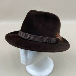 Bailey Brown Genuine Velour Fedora Trilby Hat Imported Furs Feather USA Size 7