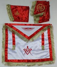 Red Masonic Master Mason Satin Apron,Collar gauntlets Set with Fringe