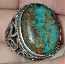 Sterling Silver Ring, Natural Turquoise Stone, #S1953, Size Adjustable 9.5+