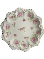 Vintage Scalloped Edge MZ Austria Gold Trim Pink Green Roses Dish Plate