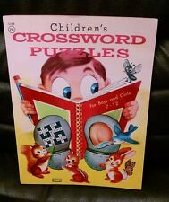 Vintage Children's Crossword Puzzles Coloring Book, 1960. Lowe