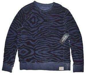 True Religion Mens Crew Neck Zebra Print Sweatshirt size XL NWT M18FF25N7G