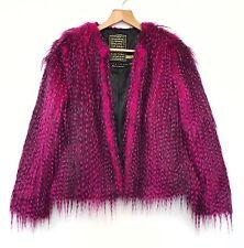 RIVER ISLAND UK 12 Pink Faux Fur Coat Emo Goth Alternative Blogger Punk Cyber