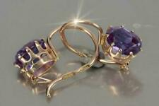 4Ct Oval Cut Amethyst Excellent Drop & Dangle Earrings 14K Yellow Gold Finish