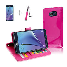 HOT PINK Wallet 4in1 Accessory Bundle Kit S TPU Case Cover Samsung Galaxy Note 5