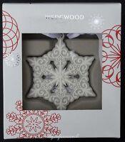 WEDGWOOD GREY WHITE PIERCED SNOWFLAKE ORNAMENT CHRISTMAS TREE BAUBLE DECORATION