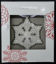WEDGWOOD GREY WHITE PIERCED SNOWFLAKE ORNAMENT CHRISTMAS TREE BAUBLE DECORATION
