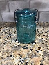VINTAGE  AVON TURQUOISE GLASS  MASON JAR WITH CLAMP