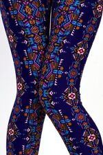 Buttery Soft Plus Size Leggings Tribal Print Flawless Fit OS Plus Fits 14-16