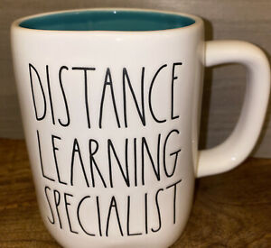 "Rae Dunn ""DISTANCE LEARNING SPECIALIST"" White W/ Black Letters & Teal Interior"