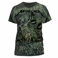 Metallica T Shirt And Justice For All Neon Official Grey Mens Tee Metal Merch