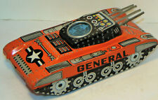 VINTAGE 1960s TIN LITHO FUTURISTIC TANK! FRICTION/4-BARRELS/SCREEN W/JETS! JAPAN