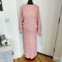 Blush Pink Knitwear Knitted Skirt And Bateing Top Coord Set Uk Stock