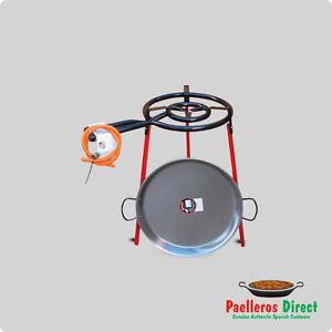 50cm Spanish Polished Steel Paella Pan & 40cm Gas Burner Kit / Set - Square Legs