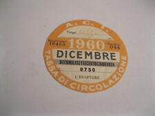 BOLLO tassa di circolazione A.C.I. di DICEMBRE 1960