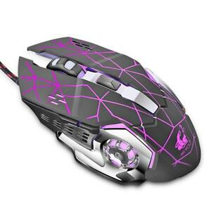 Wired Adjustable 4000DPI 6 Keys Gaming Mouse 4 Color LED Mice for Laptop lot