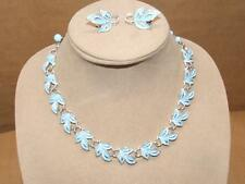 VTG Coro Silvertone Baby Blue Enamel Leaf Link & Lucite Necklace & Earrings Set