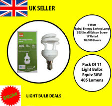 PACK OF 11 X 9 WATT SES LOW ENERGY SPIRAL BULB  A RATED 10000 HOUR A RATED NEW
