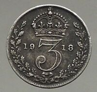 1918 UK Great Britain United Kingdom KING GEORGE V Silver Threepence Coin i56810