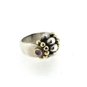 Lagos Sterling Silver 18K Gold Ring Caviar Etruscan Purple Stone Ring Size 7