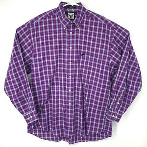 Faconnable By Albert Goldberg Purple White Plaid Shirt USA Large