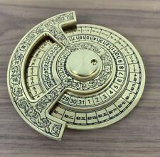 Nautical Brass Chinese Calendar Marine Vintage Paper Weight For Office or Home