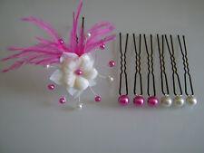 Pic/accessoire Cheveux chignon Mariée/Mariage couleur Ivoire/Rose Fuchsia fleur