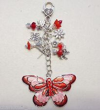 Red Butterfly Bead Dragonfly Flower Crystal Keyring Bag Charm - Handmade