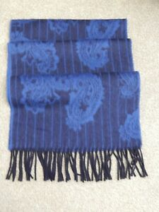 TED BAKER 100% Cashmere Blue Paisley Scarf
