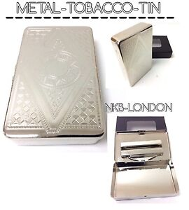 CIGARETTE CASE METAL CHROME ROLL UPS TOBACCO TIN EMBOSSED NEW MANY DESIGNS TINS