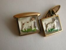 Lovely Antique Gold Capped Cufflinks depicting Terrier Dogs