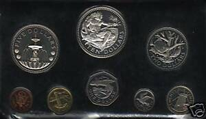 BARBADOS 1 5 10 25 1 2 5 10 DOLLARS 1973 SILVER PROOF CARIBBEAN 8 COIN MONEY SET