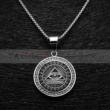 "Stainless Steel Eye Masonic Medal Loaded Zircon Pendants with Box Chain 3MM 24"""