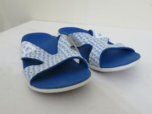 SPENCO ORTHOTIC SLIDE SANDALS KHOLO GINGHAM BLUE WOMENS 7