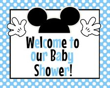 Disney Baby Mickey Mouse STAND UP 8.5 x 11 Welcome to Shower Sign Blue