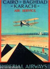 Egypt Cairo Bahgdad Karachi by Airplane Vintage Travel Advertisement Art Poster