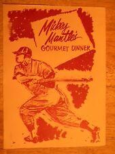 MICKEY MANTLE RESTAURANT MENU JOPLIN MO MISSOURI 1962 MOTEL HOTEL VINTAGE YANKEE