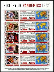 SIERRA LEONE 2020 VIRUS 19 HISTORY OF PANDEMICS SOUVENIR SHEET II 5 STAMPS MINT